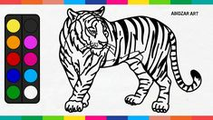 Tiger Drawing & Coloring Easy For Kids, Toddlers | Menggambar Hewan Harimau
