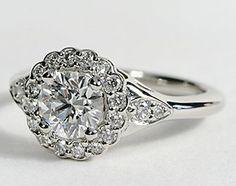 Flora Vida™ Halo Engagement Ring in Platinum