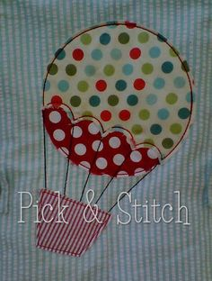 Hot Air Balloon Applique Design Maschine von pickandstitch auf Etsy