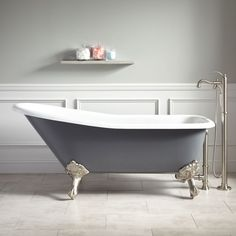 Buy the Signature Hardware 415202 Dark Gray / Brushed Nickel Feet Direct. Shop for the Signature Hardware 415202 Dark Gray / Brushed Nickel Feet Goodwin Cast Iron Slipper Clawfoot Tub with Imperial Feet and save. Dark Gray Bathroom, Grey Bathrooms, Modern Bathroom, Small Bathroom, Master Bathrooms, Bathroom Ideas, Plywood Furniture, Clawfoot Tub Bathroom, Claw Foot Bath