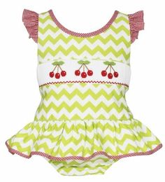 Claire & Charlie Girls Lime Green Chevron Smocked Red Cherries One Piece Swimsuit Green Chevron, Swimsuit Edition, Tween, Smocking, One Piece Swimsuit, Bathing Suits, Swimsuits, Cherries, Claire