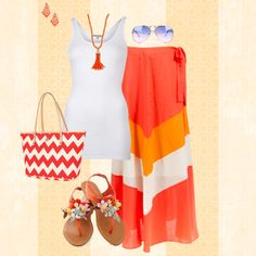 A fashion look from June 2013 featuring white singlet, beach maxi skirt and elastic sandals. Browse and shop related looks. Dress Outfits, Cute Outfits, Dresses, Summer Outfits, Beach Outfits, Outfit Beach, Fashion And Beauty Tips, Dress Me Up, Get Dressed