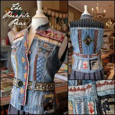 Denim vest embellished with antique trims, textiles, and quilt pieces, by Phyllis of The Purple Pear.  www.purplepearshop.com