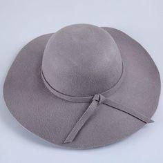 11572a8c2e6 High Quality 100% Wool Fashion Hat- Vintage Womens Floppy Wide Brim Fedora  Wool Felt