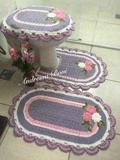 Jogo de banheiro, kit banheiro, decoração, crochê