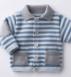 """""""Nice idea to brighten up a striped cardigan"""", """"College boy type design from Phildar"""", """"Ravelry: Aran Garter Stitch Cardigan pattern by Audrey Wils Baby Knitting Patterns, Baby Cardigan Knitting Pattern, Cardigan Pattern, Knitting For Kids, Baby Patterns, Layette Pattern, Knit Baby Sweaters, Knitted Baby Clothes, Boys Sweaters"""