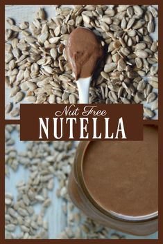 Nutella without the nuts! This super easy to make recipe is perfect for those with nut allergies! Made with sunflower seeds makes this a nut free nutella! #nutfree #nutella #allergyfriendly #healthy