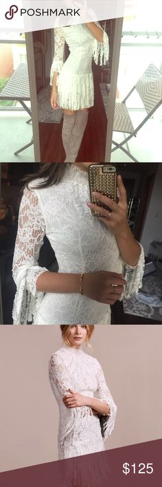 Alexis Sonya Frayed Dress Very beautiful dress. Worn once. Color off white. Alexis Dresses Midi