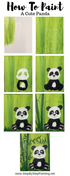 How To Paint A Cute Panda - Step By Step Painting # One # Painting . - How to paint a cute panda – step by step painting paint - Panda Painting, Easy Canvas Painting, Acrylic Painting Tutorials, Diy Painting, Canvas Art, Acrylic Canvas, Watercolor Painting, Canvas Paintings, Canvas Ideas
