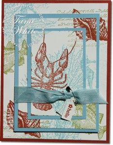 Love, love this card using the By the Tide stamp set!  Of course the lobster in that set has my heart since I live in Maine!