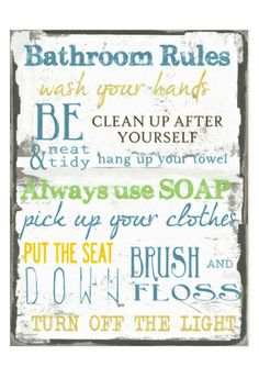 Another Great Find On Blue U0026 Green U0027Bathroom Rulesu0027 Wall Sign By Stupell  Industries