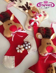 Botas de natal em feltro; Bota/meia de natal em feltro; stocking christmas felt