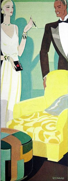 Art deco illustrations come from a vintage DuPont fabric catalog