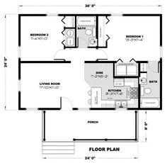 Rosseau - Quality Homes 2 Bedroom House Plans, Cottage Floor Plans, Small House Floor Plans, Small Tiny House, Cottage Plan, Tiny House Cabin, Tiny House Living, Cabin Homes, Small Homes