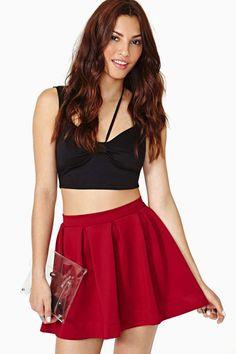 Scuba Skater Skirt - Wine