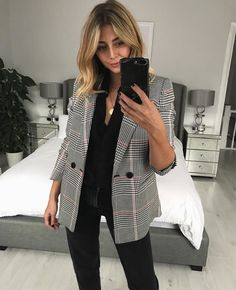 Checked Blazer + Black Blouse + Emma Hill + Minimalist + Fall