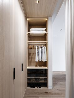 LIGHT on Behance Bedroom Closet Design, Bedroom Wardrobe, Wardrobe Design, Apartment Interior Design, Bathroom Interior Design, Small Walkin Closet, Japanese Style Bedroom, Muji Style, Muji Home