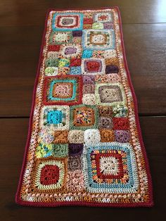 Babette Inspired Crochet Table Runner by chitweed. Love the colours and the random sized squares! Crochet Squares, Crochet Granny, Crochet Doilies, Crochet Stitches, Crochet Patterns, Granny Squares, Crochet Curtains, Crochet Ideas, Crochet Home Decor