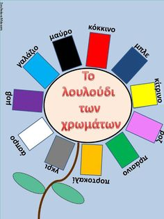 The flower color. Language Lessons, Speech And Language, Warm And Cold Colours, English Adjectives, Learn Greek, Teaching Colors, Greek Language, Greek Alphabet, Preschool Education