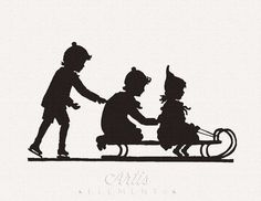 Children on Snow Sleigh Ice Skate  PNG Digital by ArtisElements, $1.95