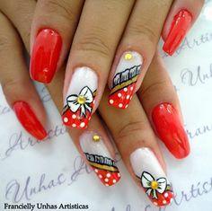 nails art unhas decoradas desenhadas vermelhas