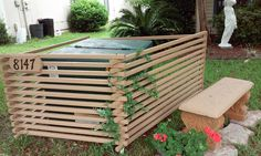 Used this to hide a huge electrical box in my front yard. Thanks HGTV for the inspiration.