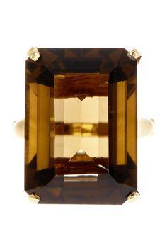 14K Yellow Gold Emerald Cut Smokey Quartz Ring by Non Specific on @HauteLook