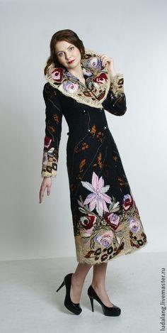 """Купить Пальто демисезонное """"Роскошь"""" - бордовый, цветочный, демисезонное пальто, модное пальто купить"""