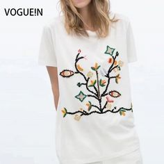 >> Click to Buy << VOGUE!N New Womens Ladies Floral Embroidered Short Sleeve T-Shirt Tops Tee Size SML Wholesale #Affiliate