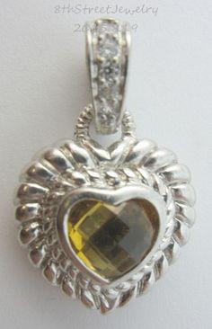 """Estate Judith Ripka Sterling Silver 925 Citrine Heart Pendant Enhancer 1-1/8""""L #JudithRipka #Pendant"""