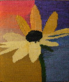 flower - pin from Patricia Johnson Weaving Textiles, Weaving Art, Weaving Patterns, Tapestry Weaving, Loom Weaving, Hand Weaving, Contemporary Tapestries, Tapestry Design, Weaving Projects