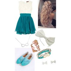 Cute outfit for girls -dress-Toms-Bow-Headband-Nails-Infinity-Necklace-Bracelets-Wavy-Hair