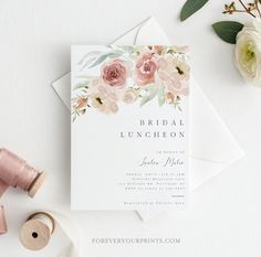 Bridal Luncheon Invitation Template Floral Wedding Shower | Etsy