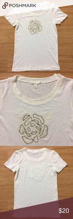 J.crew tee with flower beading design. Size medium J.crew tee with flower beading design. Size medium J. Crew Tops Tees - Short Sleeve