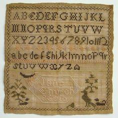 C1823 New England Antique Needlework Sampler Jane Church Age 10 Ashfield Mass