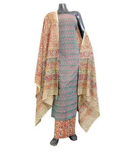 Ikat & Kalamkari Block Print Cotton Suit-Pink
