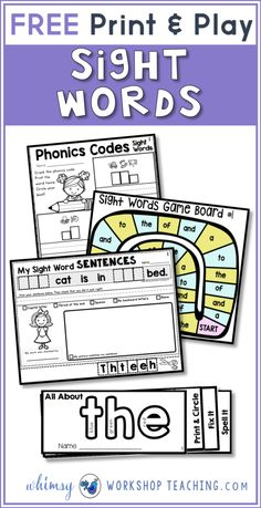 Sight Words Strategies and Resources Free pack of print and play sight word printables!Free pack of print and play sight word printables! Basic Sight Words, Teaching Sight Words, Sight Word Practice, Sight Word Games, Sight Word Activities, Phonics Activities, Reading Activities, Toddler Activities, School