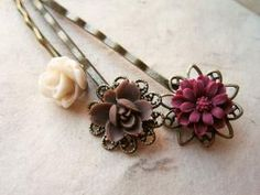Earth Tone Flower Hair Pins by Piggle And Pop