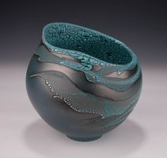 Altered Vessel, Blue Slip, Crawl Glazes by Mary Fox