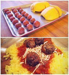 Spaghetti squash w/ Healthy 21 Calorie Meatballs!