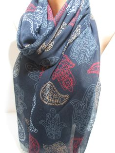 Hamsa Scarf Shawl Soft Cotton Scarf Cowl Scarf Hamsa Hand Print Scarf Women Fashion Accessories Holidays Christmas Gift Ideas For Her by DreamScarf on Etsy https://www.etsy.com/listing/209140164/hamsa-scarf-shawl-soft-cotton-scarf-cowl