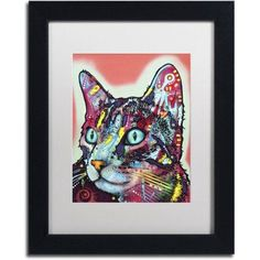 Trademark Fine Art Curious Cat Canvas Art by Dean Russo, White Matte, Black Frame, Size: 11 x 14