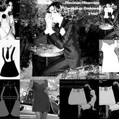 Féminin Masculin un style féminin des frères Langman bouleverse la Mode Parisienne qui se libère des contraintes d'alors avec smokings et costumes à la garçonne, mini robes et Mini Jupes 1959/1960. Feminine Masculine a feminine style of the Langman brothers upsets the Parisian Fashion which is freed from the constraints of then with tuxedos and suits to the boy,  1959/1960 #jeanraymond #frereslangman #minidress #miniskirt #mode #maitretailleur #LucienLangman #Annees60 #minijupe #minirobe Costume Smoking, Tailoring Jeans, 70s Mode, Runway Magazine, Style Feminin, Skirt Mini, Retro Vintage, 1970s, David