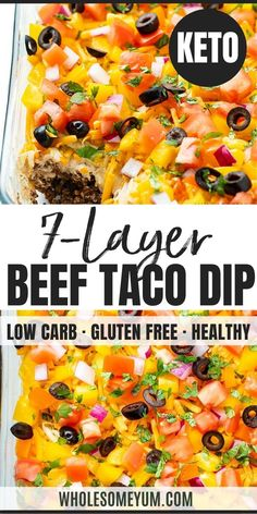 This easy 7 layer taco dip recipe is always a hit at parties! See how to make layered taco dip with meat in just 25 minutes. It's keto taco dip served with bell pepper scoops, or serve for everyone else with tortilla chips. Hot Taco Dip, Taco Dip With Meat, Skinny Taco Dip, 7 Layer Taco Dip, Seven Layer Dip, Best Taco Dip Recipe, Bean Dip Recipes, Layered Taco Salads, Layered Taco Dip