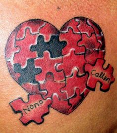 Puzzle heart tattoo