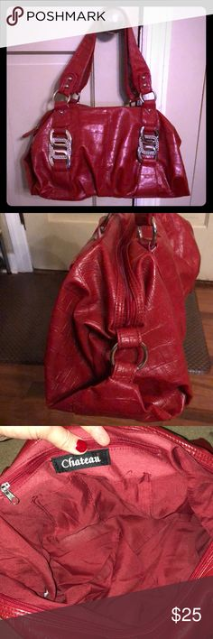"""🆕Chateau Hobo Handbag Beautiful deep red handbag with striking silver grommets. Zipper enclosure with inside zipper as well. 15""""W x 8""""H dimensions. Perfect hobo bag. Just in time for the holidays!🎄  •ALL of my proceeds go to my son who is sick.•  🔴My prices are BEYOND fair. Please do not lowball me!🔴 Chateau Bags Hobos"""