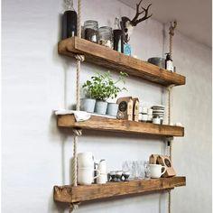 Bibliotecă Retro din Lemn – Esuply.ro Rope Shelves, Hanging Shelves, Wall Shelves, Floating Shelves, Bathroom Shelves, Tapete Doily, Wood Wall Decor, Room Decor, Over Toilet