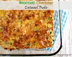 This Broccoli Cheddar Oatmeal Bake taste like a comforting rich bowl of broccoli cheddar soup but in a healthy creamy oatmeal bake!