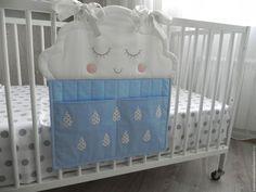 """Детская ручной работы. Ярмарка Мастеров - ручная работа. Купить Кармашки на кроватку """"Облачко"""". Handmade. Голубой, для хранения мелочей"""