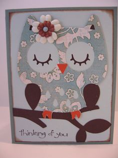 Owl card made using cricut create a critter cartridge Scrapbook Paper Crafts, Scrapbook Cards, Owl Punch Cards, Create A Critter, Owl Card, Cricut Cards, Get Well Cards, Animal Cards, Sympathy Cards